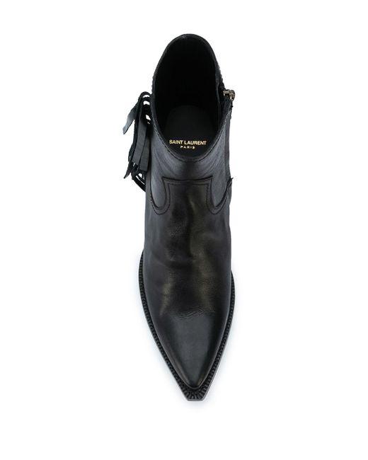 メンズ Saint Laurent フリンジ ウエスタンブーツ Black