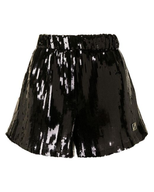 we11done Black Sequin Logo-patch Shorts