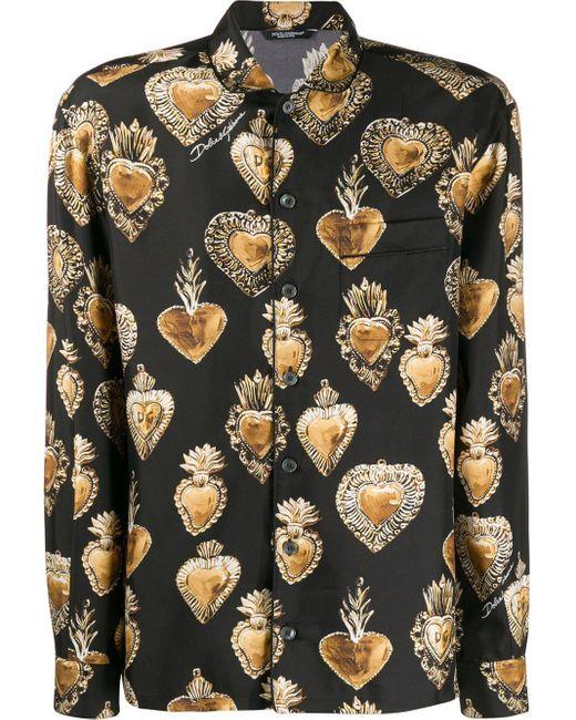 メンズ Dolce & Gabbana ハート シルク シャツ Multicolor