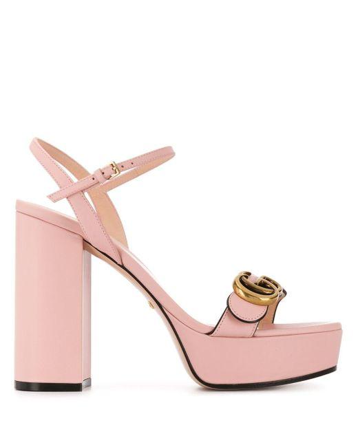 Босоножки На Платформе С Логотипом Double G Gucci, цвет: Pink