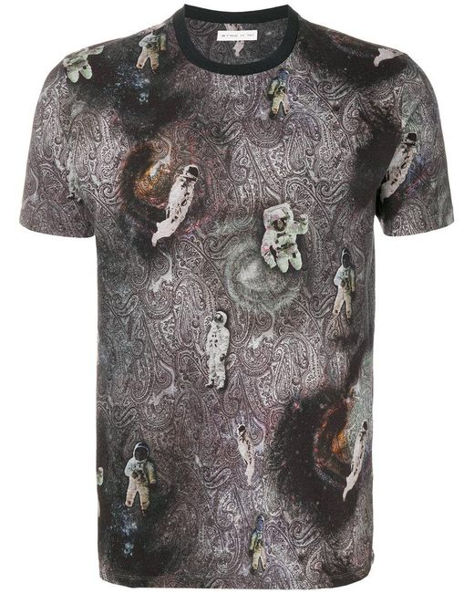 Etro Paisley Astronaut T Shirt In Black For Men Lyst