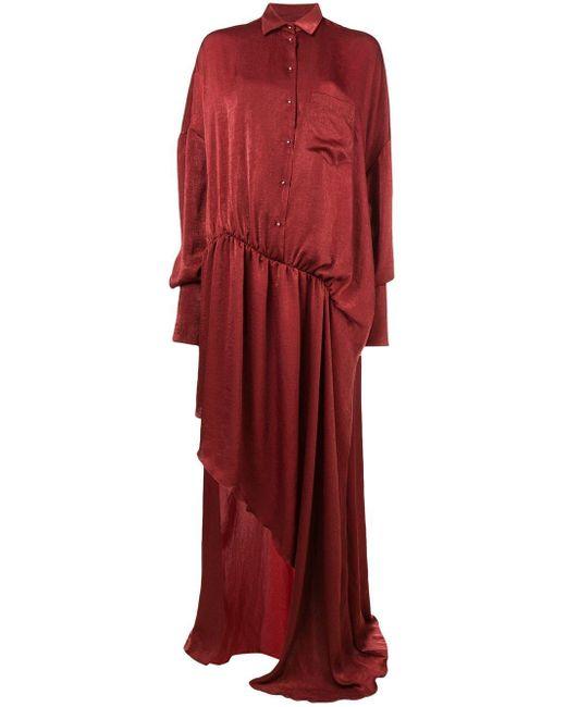 Esteban Cortazar Robe longue asymétrique femme de coloris rouge qRgHg