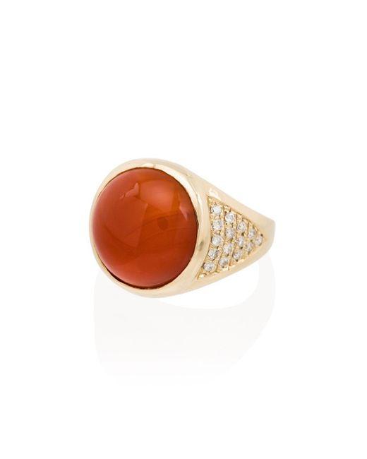 Jacquie Aiche Carnelian ダイヤモンドリング 14kローズゴールド Orange