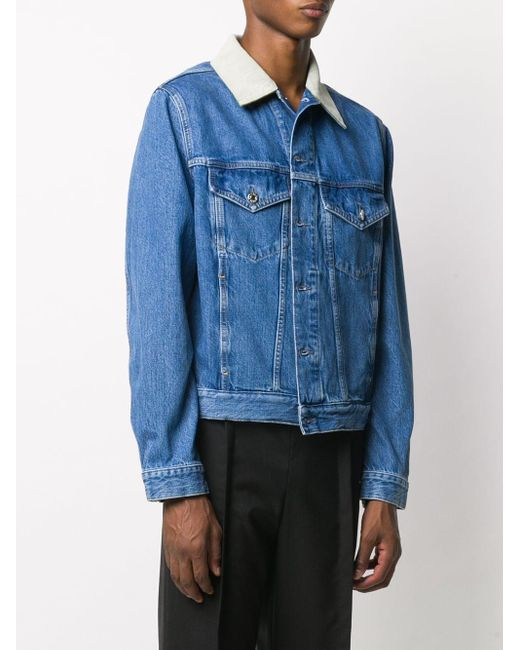 メンズ Helmut Lang コントラストカラー デニムジャケット Blue
