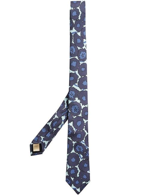 Burberry - Blue Slim Cut Abstract Floral Print Silk Tie for Men - Lyst