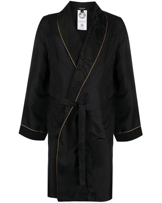 Жаккардовый Халат Versace для него, цвет: Black