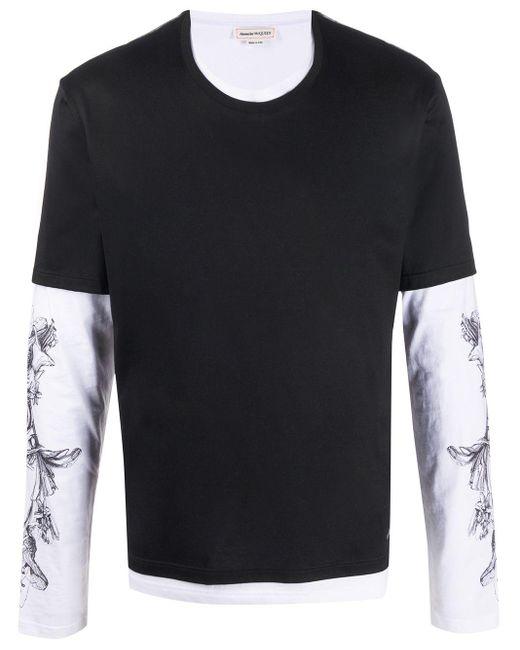 メンズ Alexander McQueen レイヤード ロングtシャツ Black