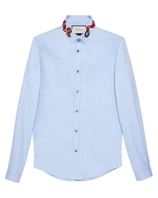 Gucci Duke Hemd aus Oxford mit Königsnatter in Blue für Herren
