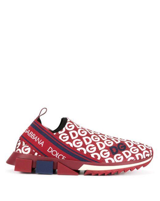 Dolce & Gabbana Zapatillas con logo Sorrento de hombre de color rojo