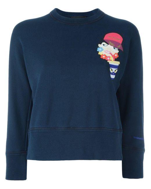 DSquared² クロップド プリントスウェットシャツ Blue
