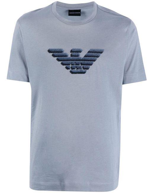 Футболка С Вышитым Логотипом Emporio Armani для него, цвет: Gray