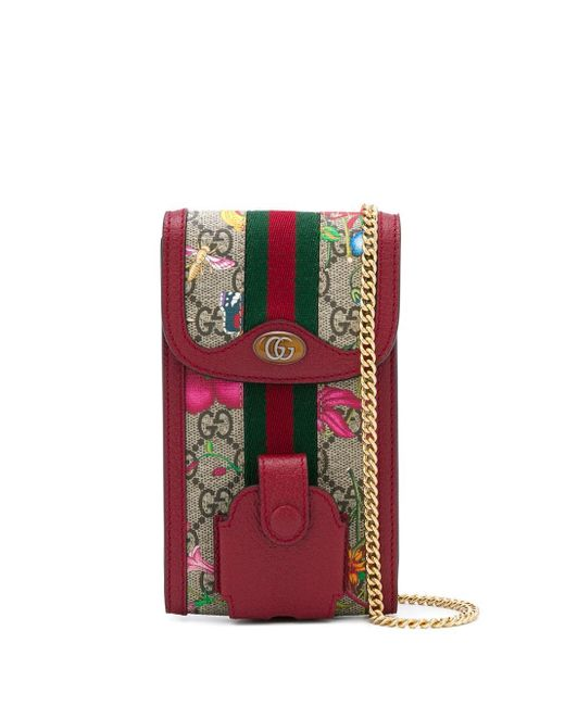 Gucci GGマーモント フローラ チェーン ポーチ Red