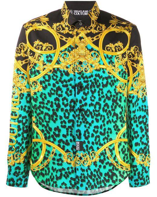 メンズ Versace Jeans Leo チェーンプリントシャツ Black