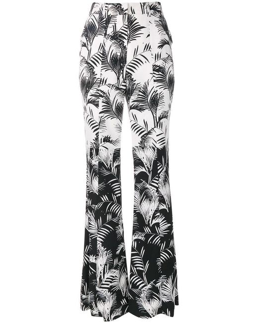 Sonia Rykiel - Black Palm Print Crepe Flared Trousers - Lyst