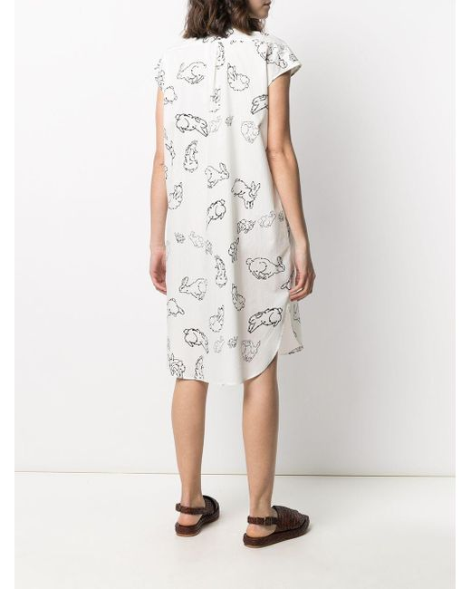 PS by Paul Smith White Kleid mit Hasen-Print