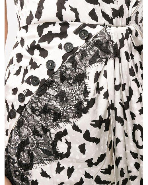 Jupe longue à imprimé léopard Self-Portrait en coloris White