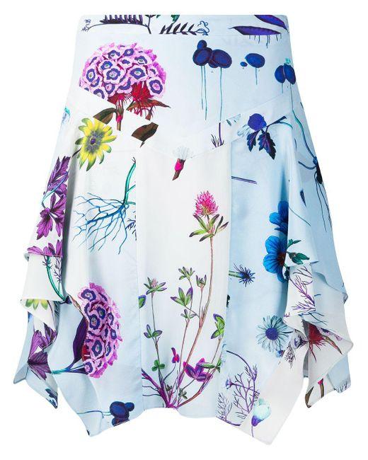 Stella McCartney フローラル ドレープスカート Blue