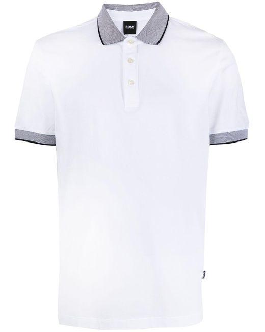 メンズ BOSS by Hugo Boss サイドストライプ ポロシャツ White