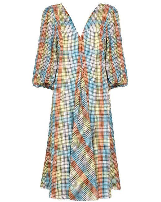 Ganni チェック ドレス Blue