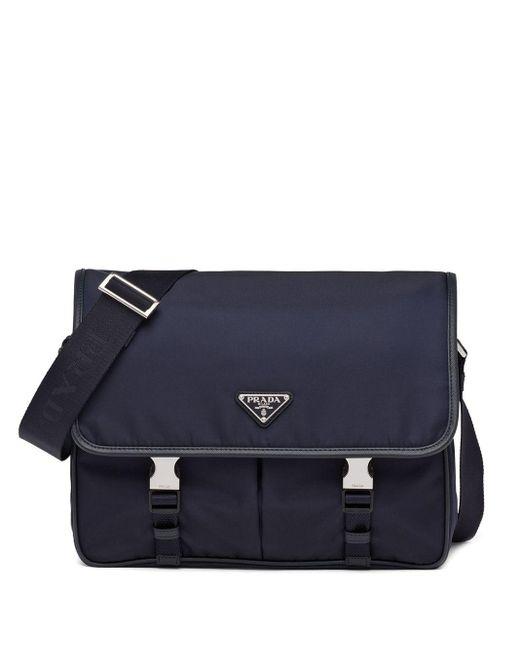 メンズ Prada ロゴプレート メッセンジャーバッグ Blue