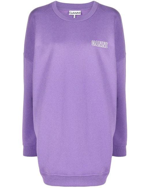 Ganni ロゴ スウェットシャツ Purple