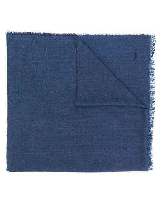 メンズ Z Zegna ロゴ フレイド スカーフ Blue