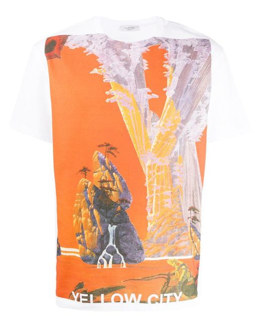 Valentino White Yellow City Graphic-print T-shirt for men