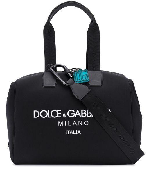 メンズ Dolce & Gabbana ロゴ ボストンバッグ Black