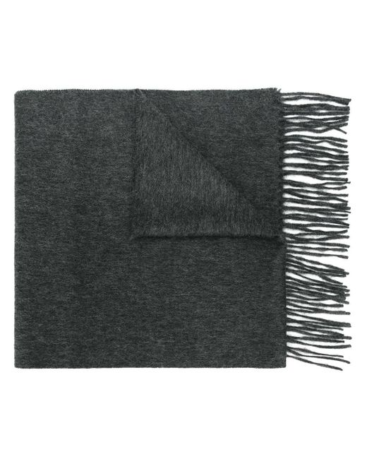 N.Peal Cashmere Gray Woven Ripple Scarf for men