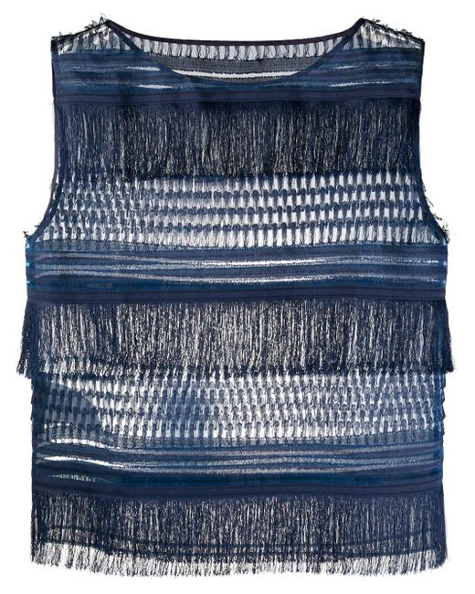 Alberta Ferretti Top sin mangas con flecos de mujer de color azul TkARe