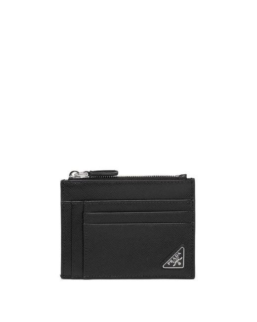 Porte-cartes à logo triangulaire Prada pour homme en coloris Black