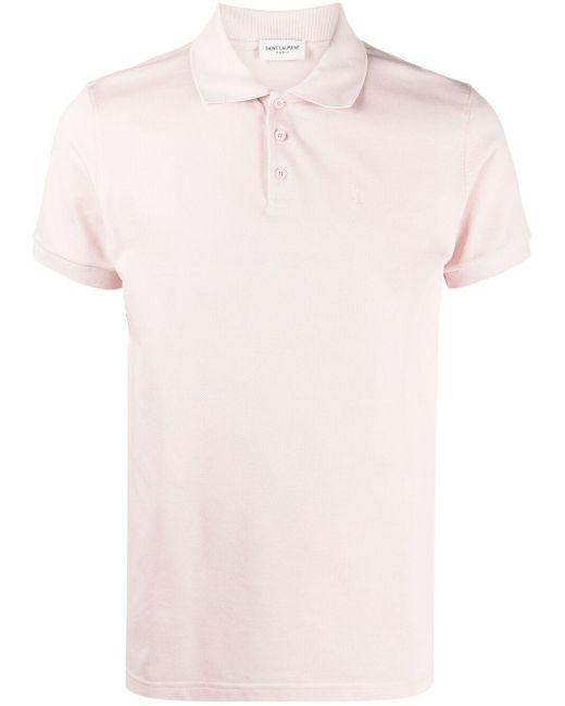 メンズ Saint Laurent ロゴ ポロシャツ Pink