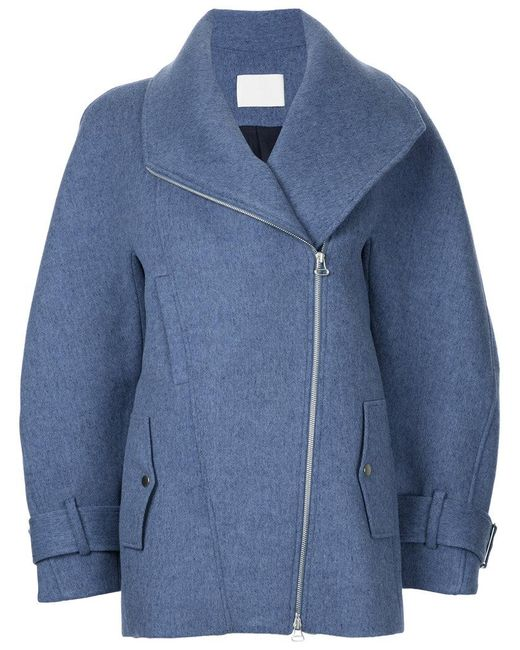 Dion Lee | Blue Zipped Peacoat | Lyst