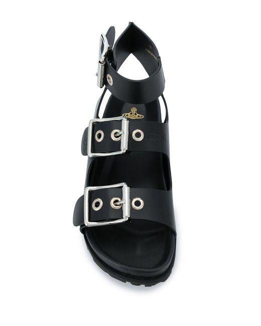 メンズ Vivienne Westwood バックルストラップ サンダル Black