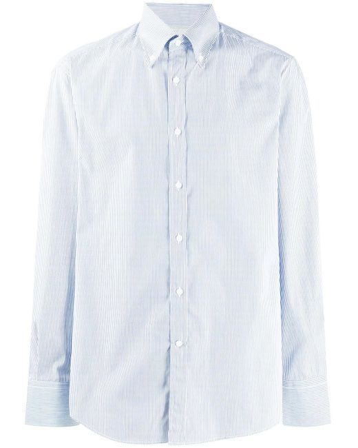 Полосатая Рубашка С Длинными Рукавами Brunello Cucinelli для него, цвет: Blue