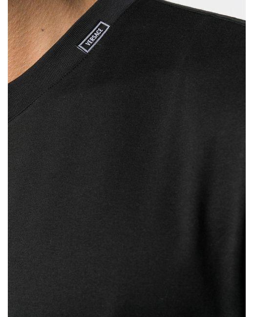 Versace T-Shirt mit Logo-Schild in Black für Herren