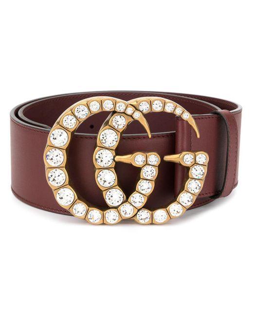 muy agradable c0cbd e10dd Cinturón con hebilla con doble G con cristales de mujer de color rojo