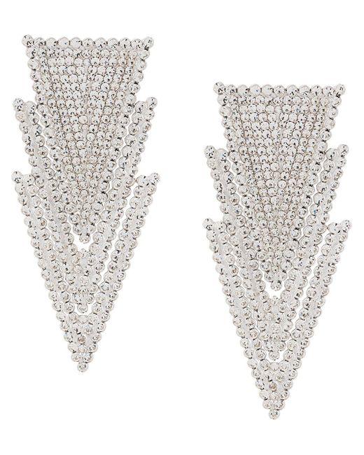 Boucles d'oreilles pendantes à ornements en cristal Alessandra Rich en coloris Metallic