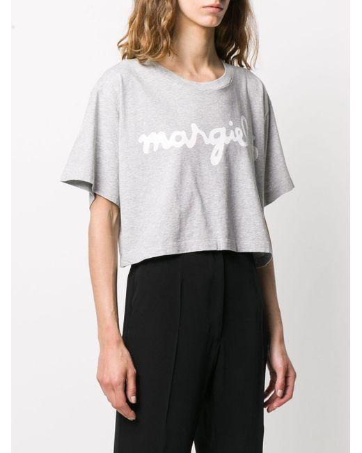 MM6 by Maison Martin Margiela Top corto con logo estampado de mujer de color gris Dnh0A