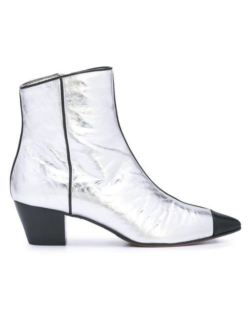 L'Autre Chose Metallic Side Zip Ankle Boots