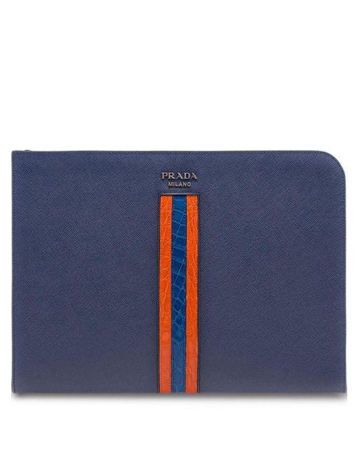 Porte-document texturé Prada pour homme en coloris Blue