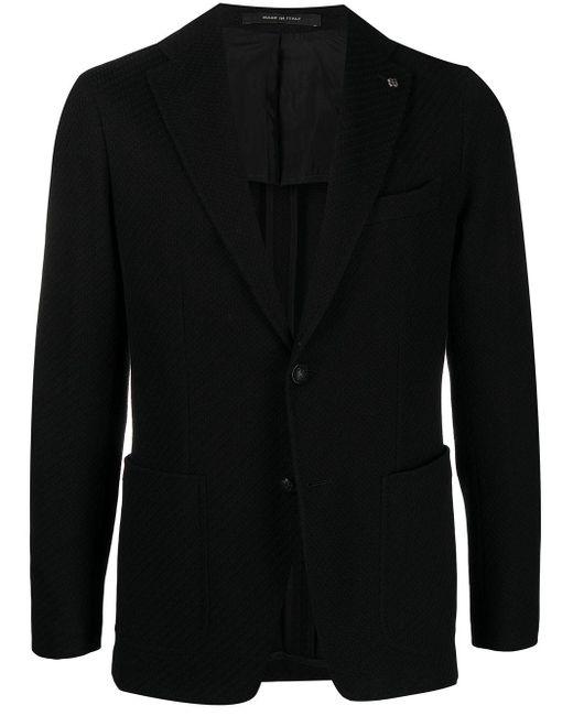 メンズ Tagliatore テクスチャード シングルジャケット Black