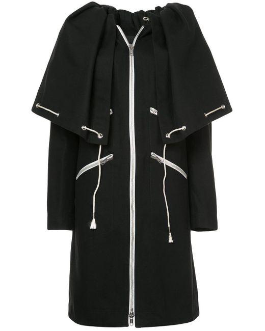 CALVIN KLEIN 205W39NYC Black Drawstring Cape Coat