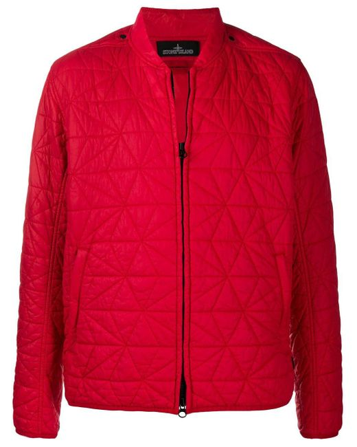 Stone Island Shadow Project Red Zip-up Quilted Bomber Jacket for men