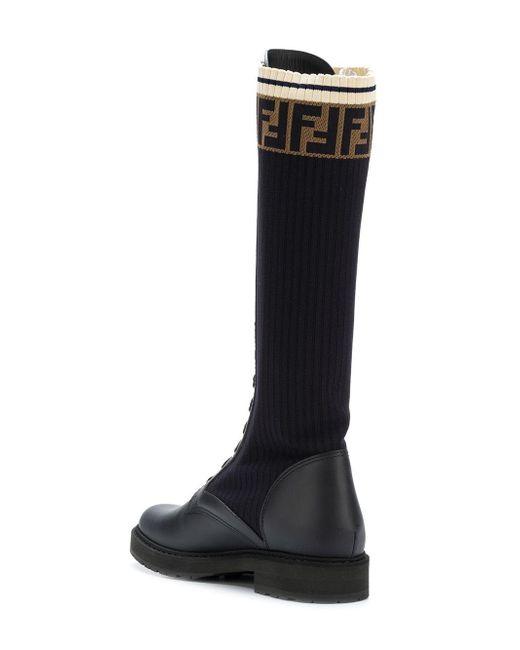 a5b23452852 Fendi Fur Rockoko Combat Boots in Black - Lyst