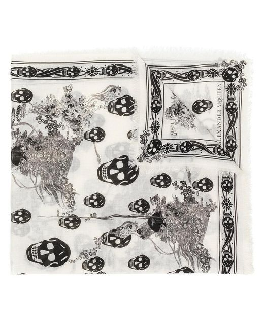 Alexander McQueen - White Eve And Skull Print Scarf - Lyst
