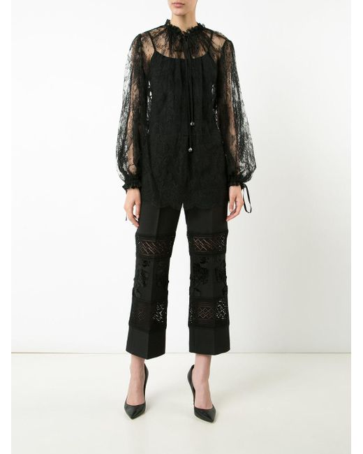 Прозрачная Кружевная Блуза Alexander McQueen, цвет: Black