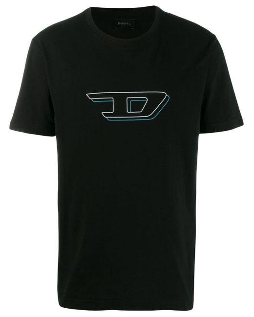 メンズ DIESEL 3d ロゴプリント Tシャツ Black