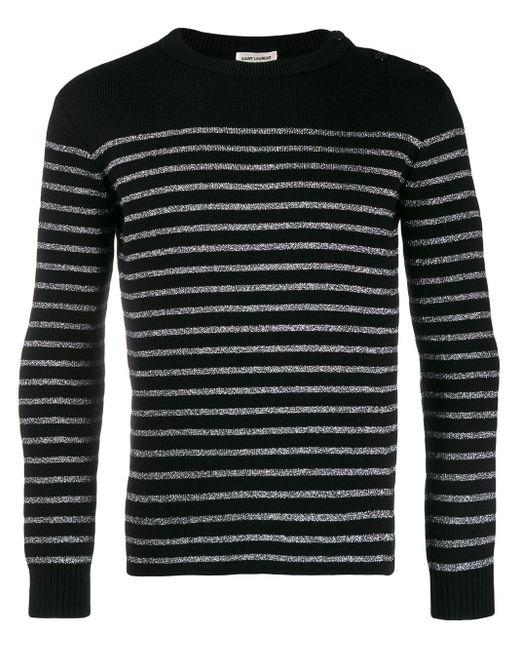 メンズ Saint Laurent ストライプ セーター Black