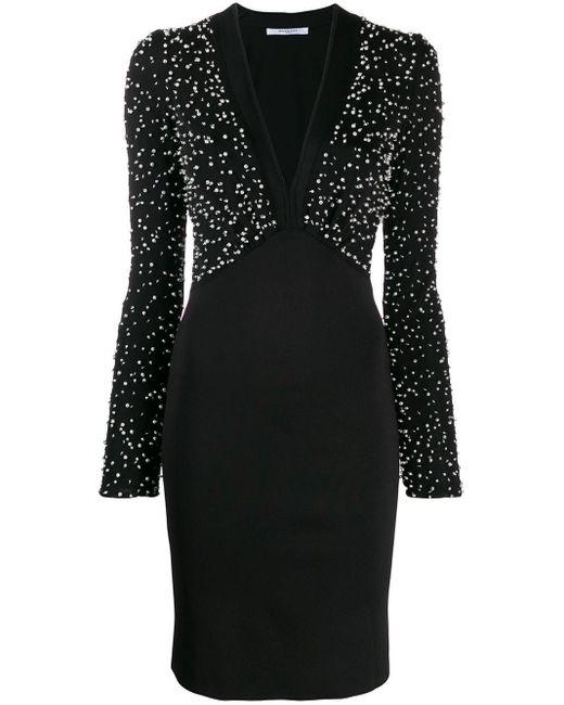 Givenchy Black Pearl Plunge Mini Dreess